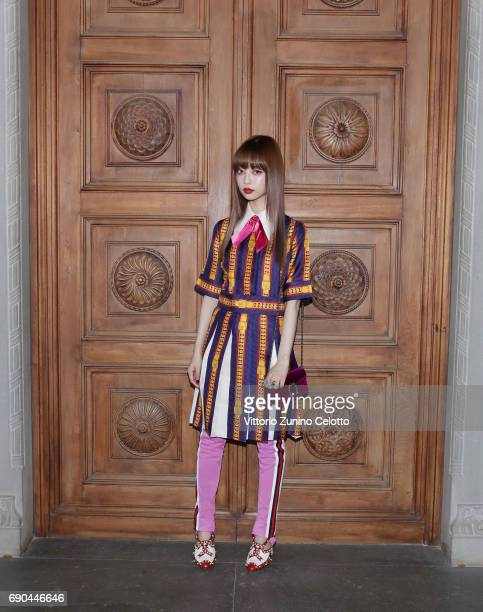 Risa Nakamura arrives at the Gucci Cruise 2018 fashion show at Palazzo Pitti on May 29 2017 in Florence Italy