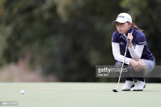 Risa Ogusu lines up a patt on the 9th hole during the final round of the Hanasaka Ladies Yanmar Golf Tournament at the Biwako Country Club on April 9...