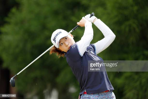 Risa Ogusu plays her tee shot on the second hole during the final round of the Hanasaka Ladies Yanmar Golf Tournament at the Biwako Country Club on...