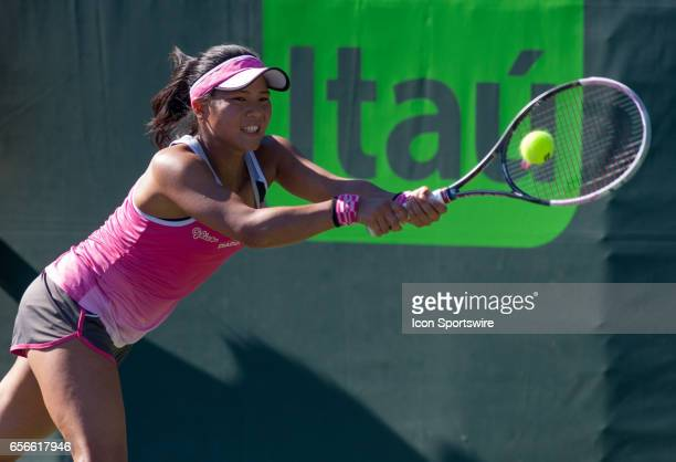 Risa Ozaki in action during the second day of the qualifying round of the 2017 Miami Open on March 21 at Tennis Center at Crandon Park in Key...