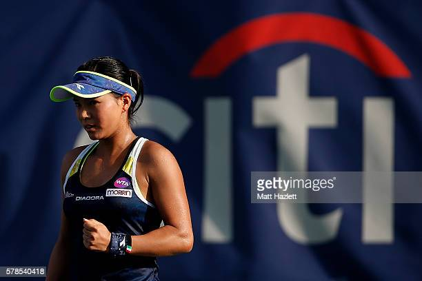 Risa Ozaki of Japan celebrates a point against Naomi Broady of Great Britain during day 4 of the Citi Open at Rock Creek Tennis Center on July 21...