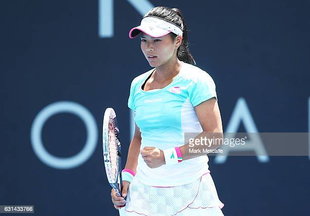 Risa Ozaki of Japan celebrates winning a point in her second round match against Lucie Safarova of Czech Republic during day two of the 2017 Hobart...