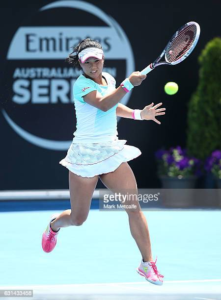 Risa Ozaki of Japan plays a forehand in her second round match against Lucie Safarova of Czech Republic during day two of the 2017 Hobart...