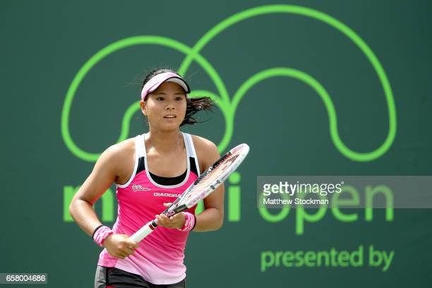Risa Ozaki of Japan plays Julia Goerges of Germany during the Miami Open at the Crandon Park Tennis Center on March 26 2017 in Key Biscayne Florida
