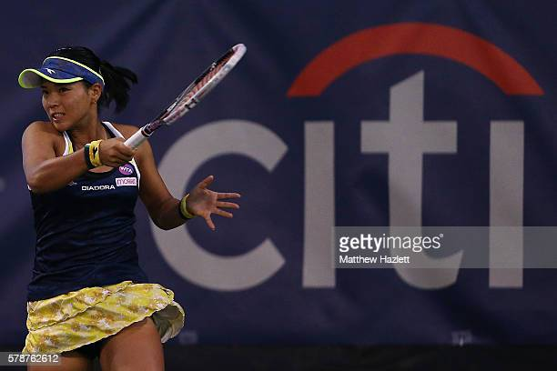 Risa Ozaki of Japan returns a shot to Sloane Stephens of the United States of America during day 2 of the Citi Open at Rock Creek Tennis Center on...