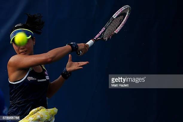 Risa Ozaki of Japan returns a shot to Yulia Putintseva of Kazakhstan during day 5 of the Citi Open at Rock Creek Tennis Center on July 22 2016 in...