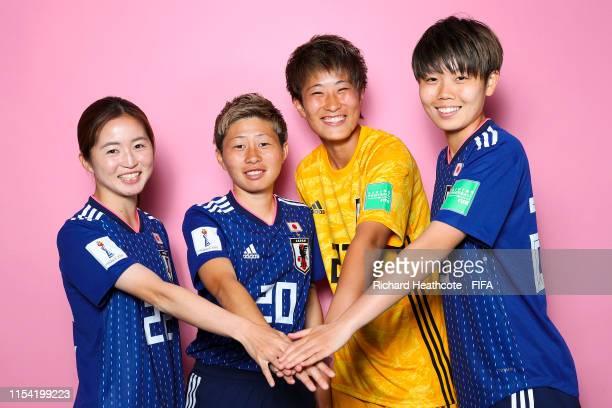 Risa Shimizu, Kumi Yokoyama, Chika Hirao and Shiori Miyake of Japan pose for a portrait during the official FIFA Women's World Cup 2019 portrait...