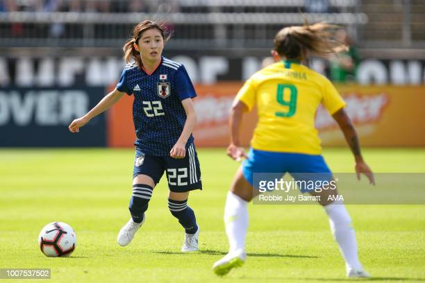 Risa Shimizu of Japan during the Tournament of Nations match between Japan and Brazil at Pratt Whitney Stadium on July 29 2018 in East Hartford...