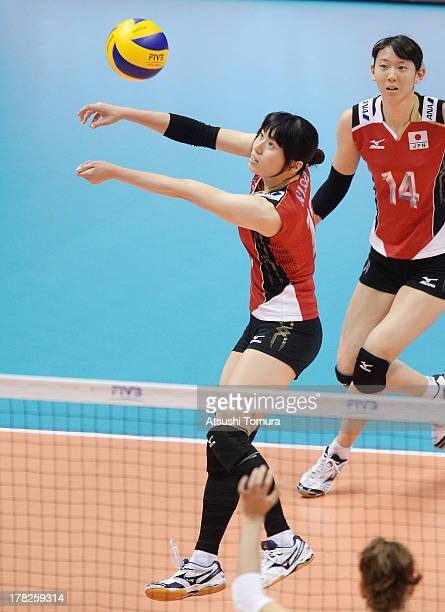 Risa Shinnabe of Japan in action during day one of the FIVB World Grand Prix Sapporo 2013 match between Japan and Italy at Hokkaido Prefectural...