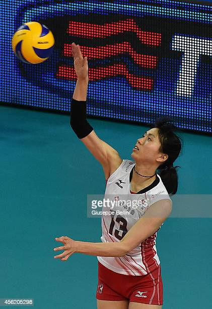 Risa Shinnabe of Japan in action during the FIVB Women's World Championship pool D match between Japan AND Puerto Rico on September 27 2014 Bari Italy