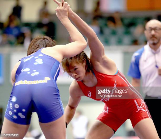 Risako Kawai and Chiho Hamada compete in the Women's 57kg 1st round on day three of the All Japan Wrestling Invitational Championships at Komazawa...