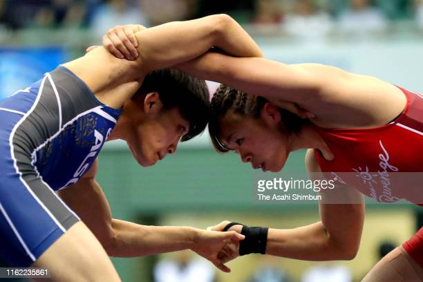 Risako Kawai and Kaori Icho compete in the Women's 57kg final on day four of the All Japan Wrestling Invitational Championships at Komazawa Gymnasium...