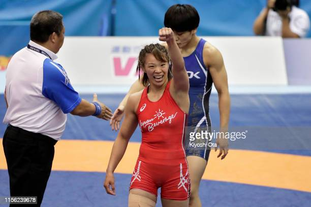 Risako Kawai celebrates after winning the Women's 57kg final match against Kaori Icho on day four of the All Japan Wrestling Invitational...