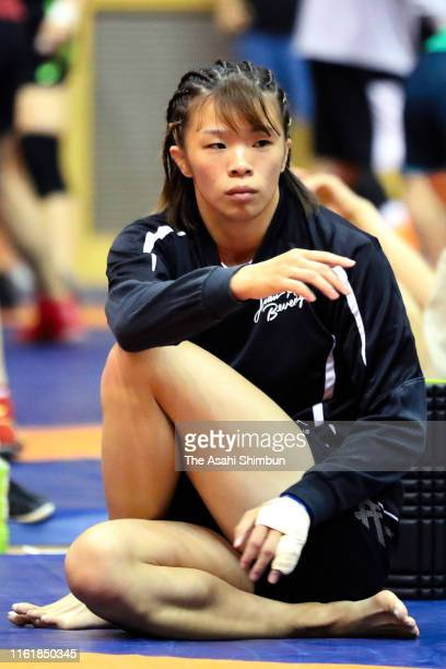 Risako Kawai warms up prior to the Women's 57kg playoff match during the Wrestling World Championships Japan Playoffs at Wako Sports Gymnasium on...