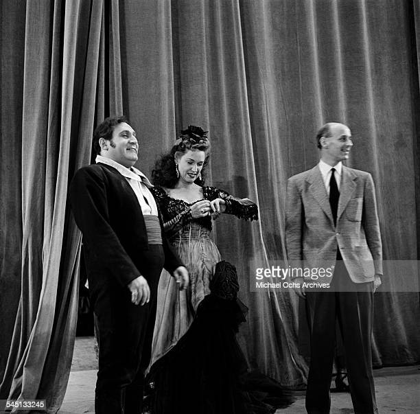 Rise Stevens and Richard Tucker rehearse Carmen at the Metropolitan Opera House for the Toast of the Town show hosted by Ed Sullivan in New York New...