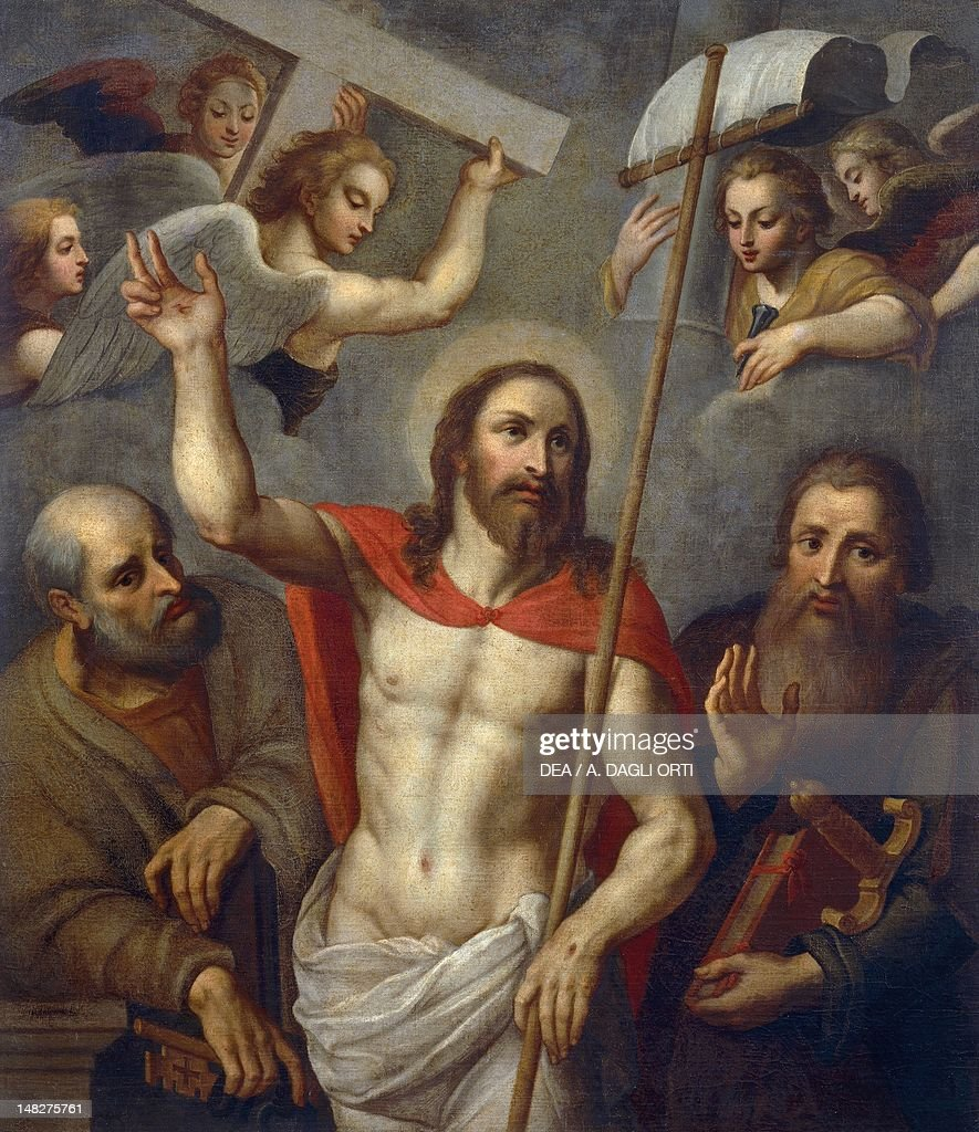 Risen Christ between Saints Peter and Paul, 16th century, artist from the Lombard school, oil on canvas, 138x120 cm. (Photo by DeAgostini/Getty Images) : News Photo