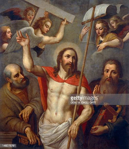 Risen Christ between Saints Peter and Paul 16th century artist from the Lombard school oil on canvas 138x120 cm Pavia Musei Civici Del Castello...