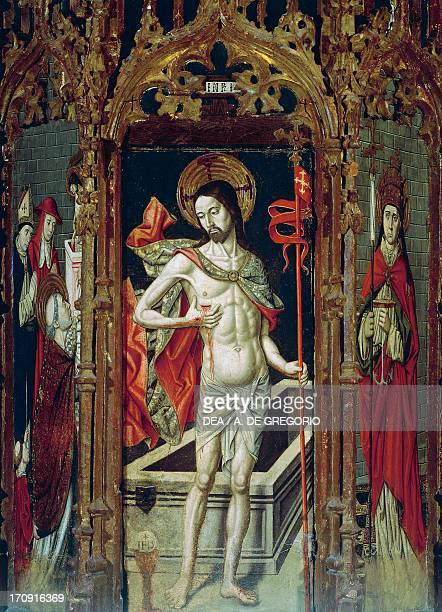 Risen Christ detail of the altarpiece Crucifixion Madonna Enthroned with Saints by the Master of Castelsardo first chapel on the right of the Parish...