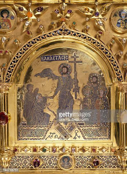 Risen Christ Pala d'Oro altarpiece St Mark's Basilica Venice Goldsmith art Italy 12th14th century Detail