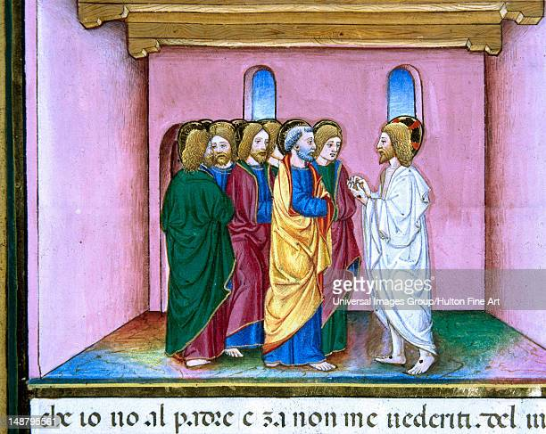 Risen Jesus announces to the disciples the coming of the Holy Spirit Illuminated pages of the Codex of Predis Royal Library Turin Italy