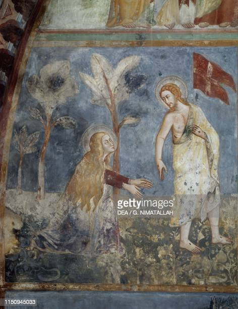 Risen Jesus asking Mary Magdalene not to touch him fresco in the upper church of the Monastery of Saint Benedict 9th13th century Subiaco Lazio Italy