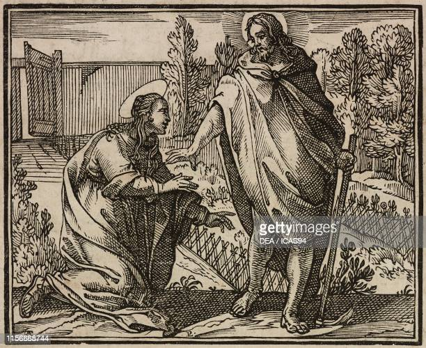 Risen Jesus meeting Mary Magdalene Gospel of John engraving from Evangelia Arabice et Latine Tipografia Medicea Rome 1591