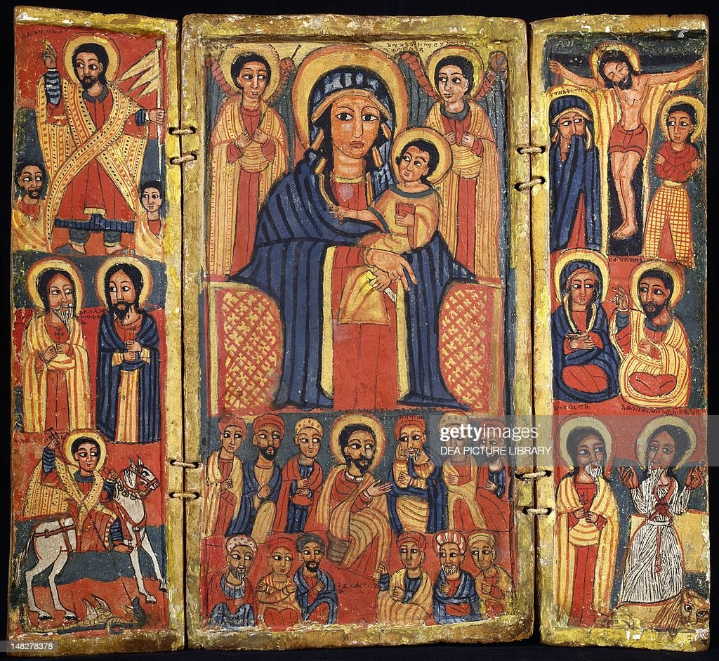 Risen Jesus, the Apostles and St George and the dragon on the left, the Enthroned Virgin with Child and angels and the Last Supper in the center, the crucified Jesus and the apostles to the right. Ethiopia, 18th-19th century. (Photo by DeAgostini/Getty Im : News Photo