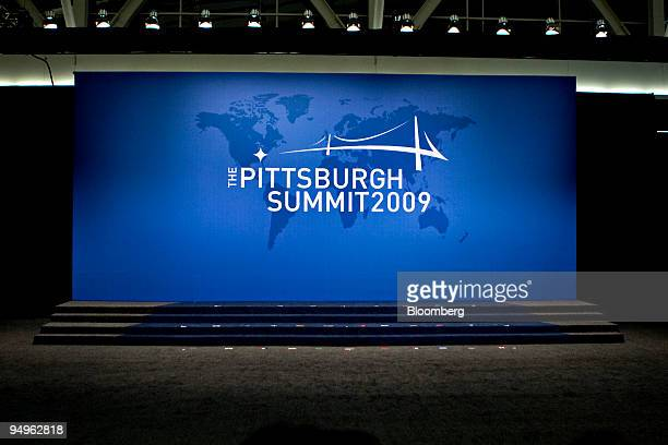 Riser sits empty before leaders from the Group of 20 nations take part in a group photo on day two of the G-20 summit in Pittsburgh, Pennsylvania,...
