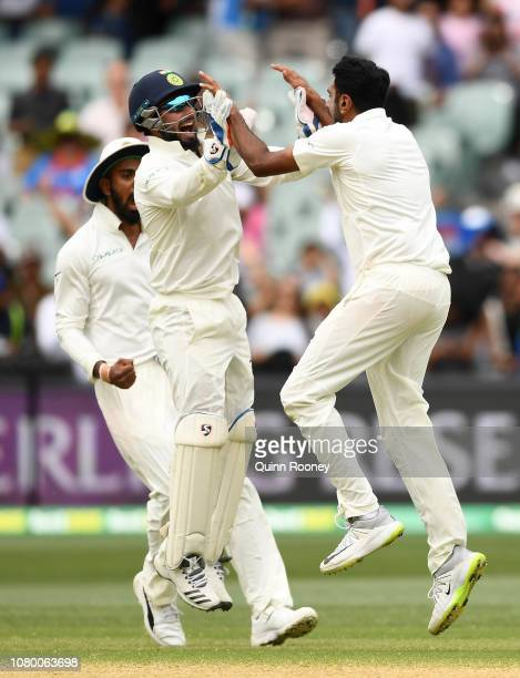 Rishabh Pant and Ravi Ashwin of India celebrate getting the final wicket and winning the test match during day five of the First Test match in the...