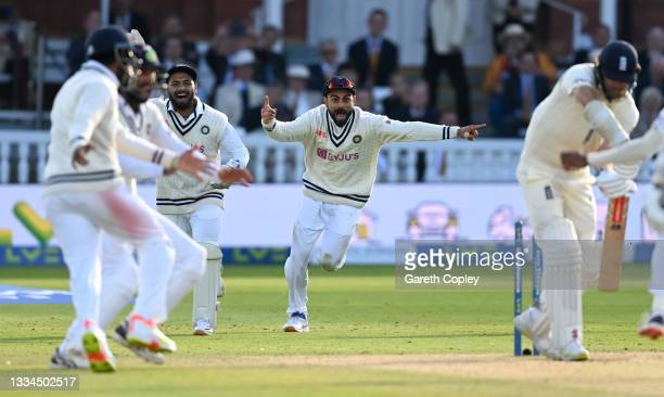 Rishabh Pant and Virat Kohli of India celebrate the final wicket and winning the Second LV= Insurance Test Match between England and India at Lord's...