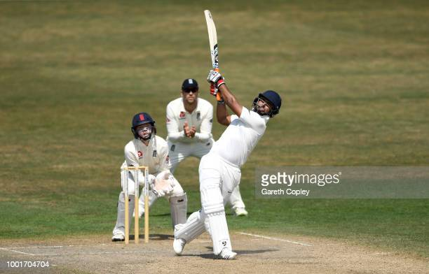 Rishabh Pant of India A hits out for six runs during the tour match between England Lions and India A at New Road on July 19 2018 in Worcester England