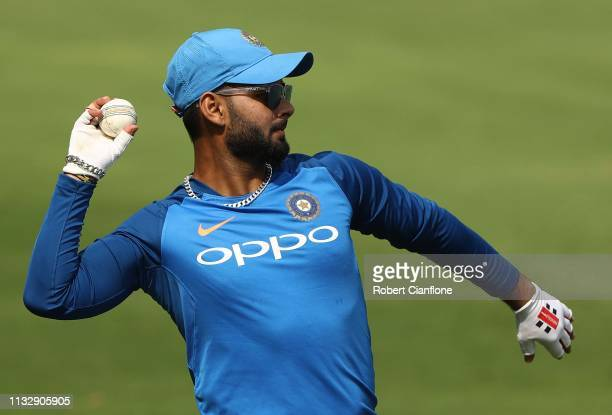 Rishabh Pant of India ahead of game one of the One Day International series between India and Australia at Rajiv Gandhi International Cricket Stadium...