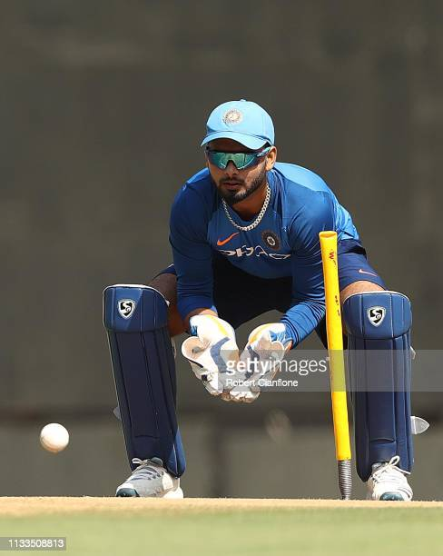 Rishabh Pant of India ahead of game two of the One Day International series between India and Australia at Vidarbha Cricket Association Ground on...