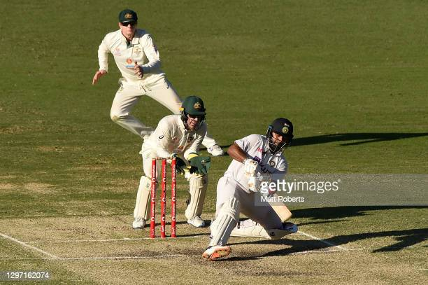 Rishabh Pant of India bats during day five of the 4th Test Match in the series between Australia and India at The Gabba on January 19, 2021 in...