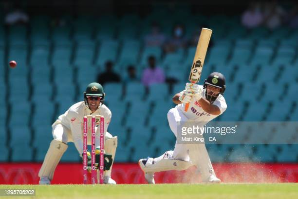 Rishabh Pant of India bats during day five of the Test match in the series between Australia and India at Sydney Cricket Ground on January 11, 2021...