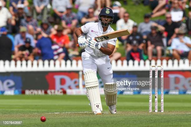 Rishabh Pant of India bats during day one of the First Test match between New Zealand and India at Basin Reserve on February 21, 2020 in Wellington,...