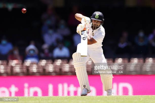 Rishabh Pant of India bats during day three of the Third Test match in the series between Australia and India at Sydney Cricket Ground on January 09,...