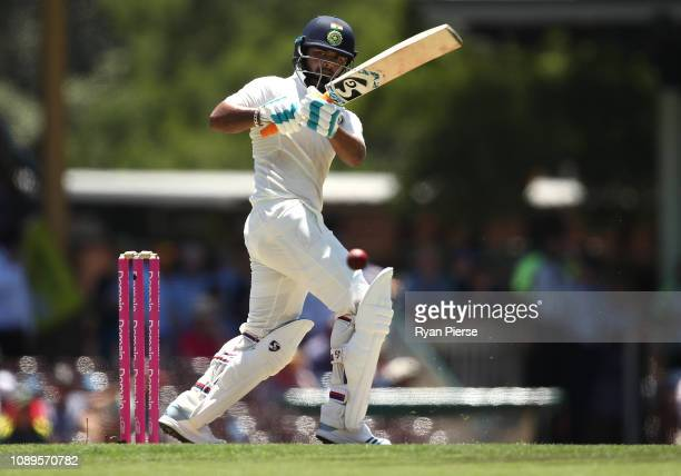 Rishabh Pant of India bats during day two of the Fourth Test match in the series between Australia and India at Sydney Cricket Ground on January 04...