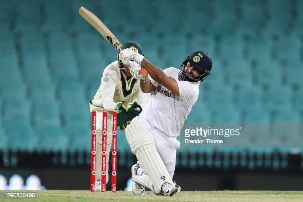 Rishabh Pant of India bats during day two of the Tour Match between Australia A and India at Sydney Cricket Ground on December 12, 2020 in Sydney,...