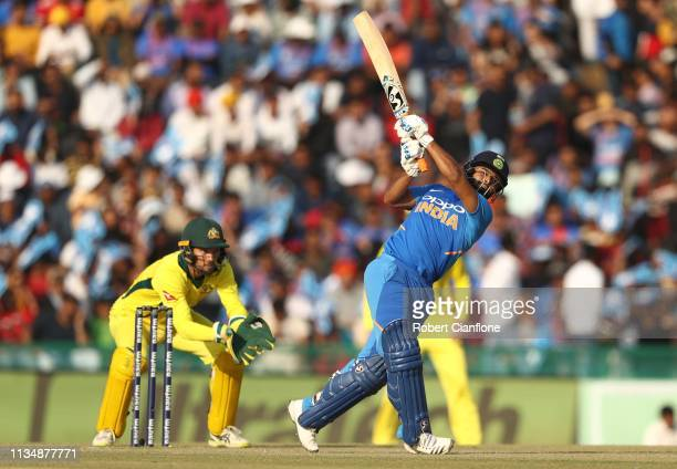 Rishabh Pant of India bats during game four of the One Day International series between India and Australia at Punjab Cricket Association Stadium on...
