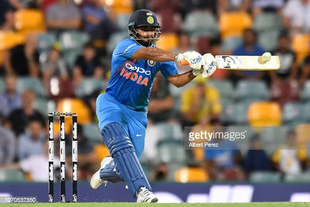 Rishabh Pant of India bats during game one of the International Twenty20 series between Australia and India at The Gabba on November 21 2018 in...