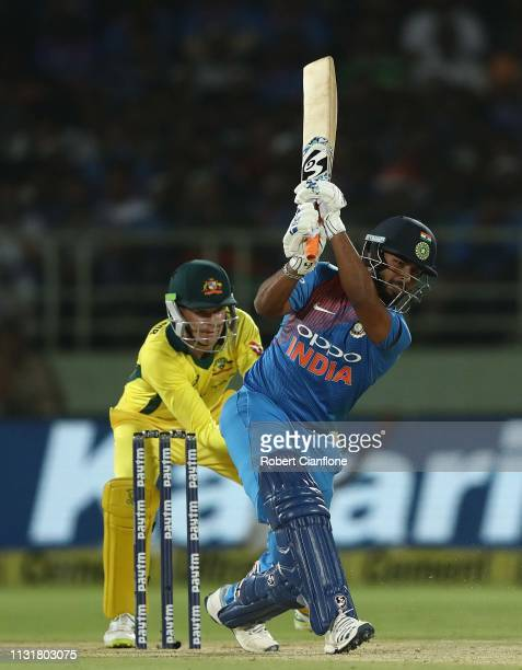 Rishabh Pant of India bats during game one of the T20I Series between India and Australia at ACAVDCA Stadium on February 24 2019 in Visakhapatnam...