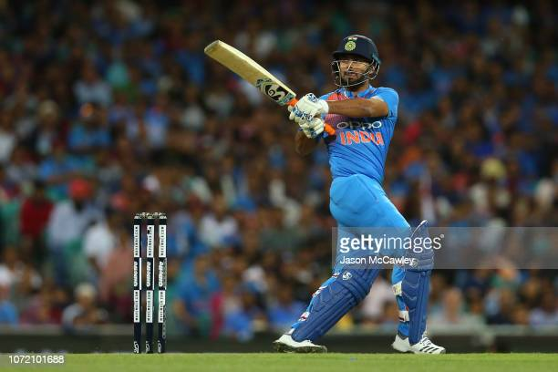 Rishabh Pant of India bats during game three of the International Twenty20 series between Australia and India at the Sydney Cricket Ground on...