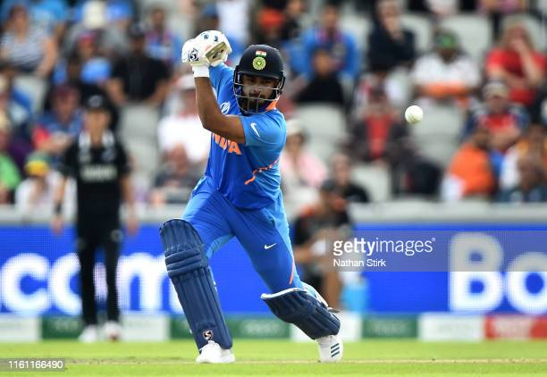 Rishabh Pant of India bats during resumption of the SemiFinal match of the ICC Cricket World Cup 2019 between India and New Zealand after weather...