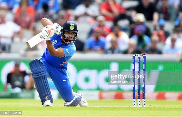 Rishabh Pant of India bats during resumption of the Semi-Final match of the ICC Cricket World Cup 2019 between India and New Zealand after weather...