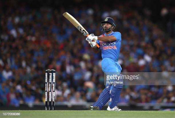 Rishabh Pant of India bats during the International Twenty20 match between Australia and India at Sydney Cricket Ground on November 25 2018 in Sydney...