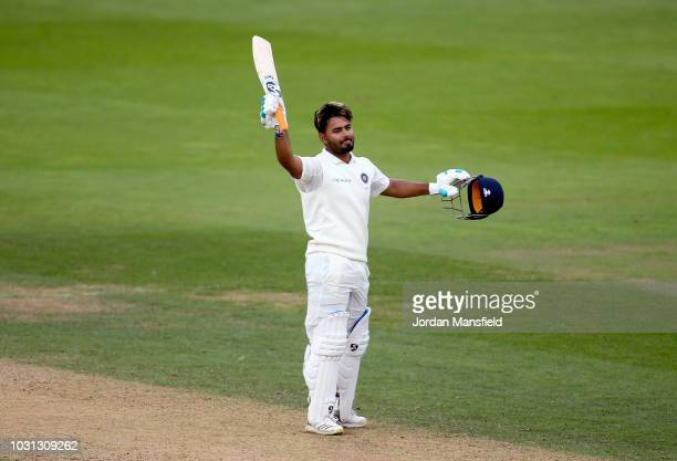 Rishabh Pant of India celebrates his century during day five of the Specsavers 5th Test match between England and India at The Kia Oval on September...