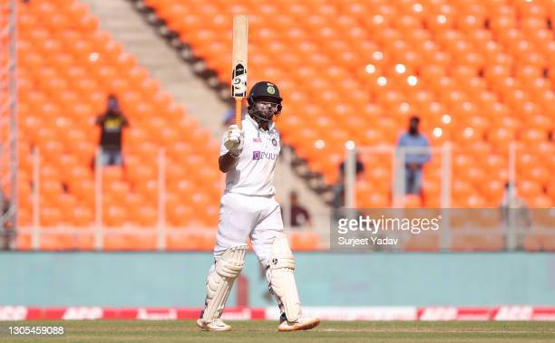 Rishabh Pant of India celebrates reaching fifty during Day Two of the 4th Test Match between India and England at Sardar Patel Stadium on March 05,...