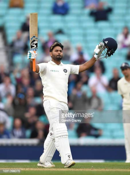 Rishabh Pant of India celebrates reaching his century during day five of the Specsavers 5th Test match between England and India at The Kia Oval on...