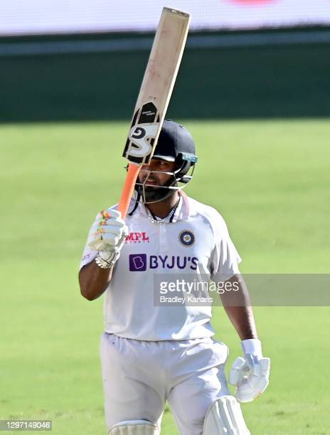 Rishabh Pant of India celebrates scoring a half century during day five of the 4th Test Match in the series between Australia and India at The Gabba...